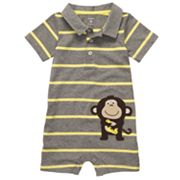 Carter's Monkey Striped Polo Romper - Baby