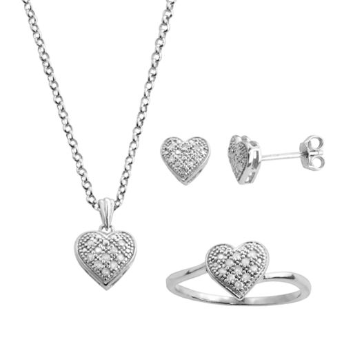 Silver Plated 1/4-ct. T.W. Diamond Heart Pendant, Ring and Earring Set