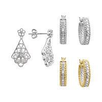 18k Gold & Silver Plate 1/4 ctT.W. Diamond Hoop & Filigree Drop Earring Set