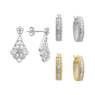 18k Gold and Silver Plate 1/4-ct. T.W. Diamond Hoop and Filigree Drop Earring Set