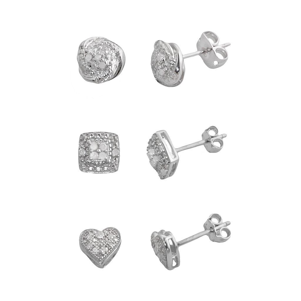 Silver Plate 1/4-ct. T.W. Diamond Heart, Love Knot & Square Stud Earring Set
