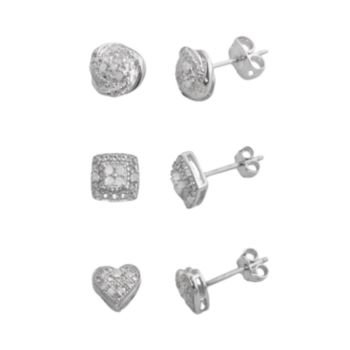 Silver Plate 1/4-ct. T.W. Diamond Heart, Love Knot and Square Stud Earring Set