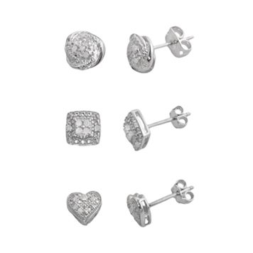 Silver Plate 1/4-ct. T.W. Diamond Heart, Love Knot & Square Stud Earring Set