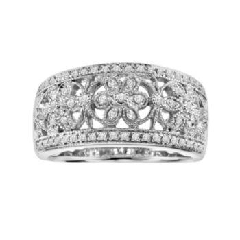 Love Always Sterling Silver 1/4-ct. T.W. Diamond Openwork Flower Ring