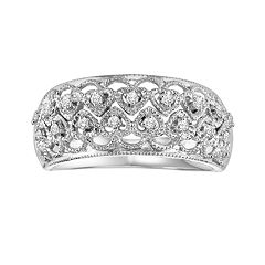 Love Always Sterling Silver 1/8 ctT.W. Diamond Openwork Heart Ring