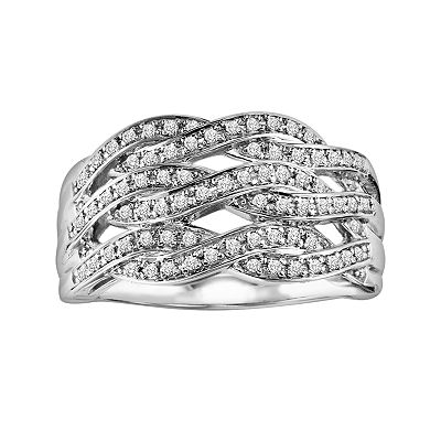 Love Always Sterling Silver 1/3-ct. T.W. Diamond Openwork Crisscross Ring