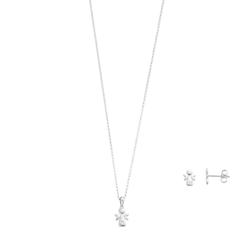 Little Diva Diamonds Sterling Silver Diamond Accent Angel Pendant