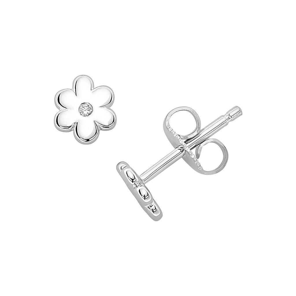 Little Diva Diamonds Sterling Silver Diamond Accent Flower Stud Earrings - Kids
