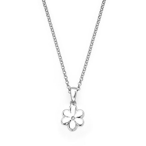 Little Diva Diamonds Sterling Silver Diamond Accent Flower Pendant - Kids