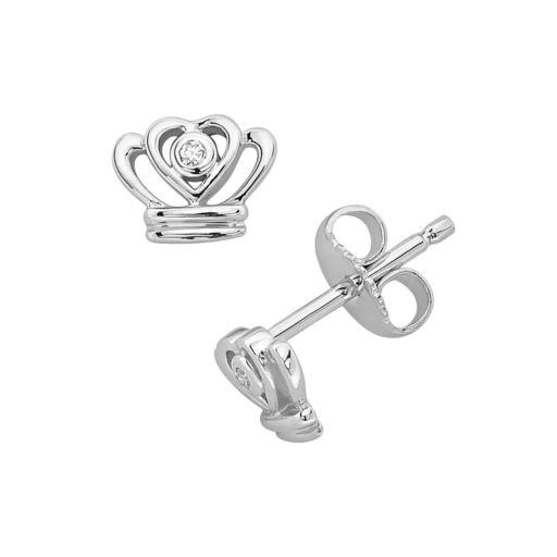 Little Diva Diamonds Sterling Silver Diamond Accent Crown Stud Earrings - Kids
