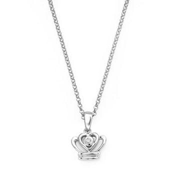 Little Diva Diamonds Sterling Silver Diamond Accent Crown Pendant - Kids