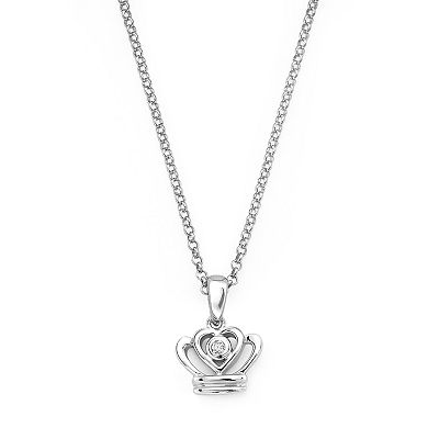 Little Diva Diamonds Sterling Silver Diamond Accent Crown Pendant - Kids