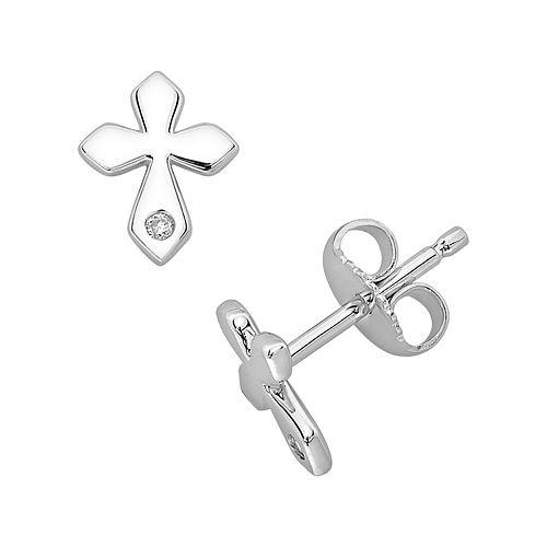 Little Diva Diamonds Sterling Silver Diamond Accent Cross Stud Earrings - Kids