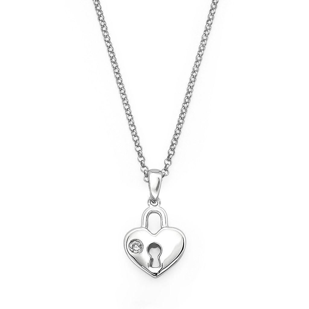 Little Diva Diamonds Sterling Silver Diamond Accent Heart Lock Pendant - Kids