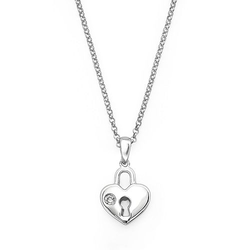 Little Diva Diamonds Sterling Silver Diamond Accent Heart Lock Pendant - Kids