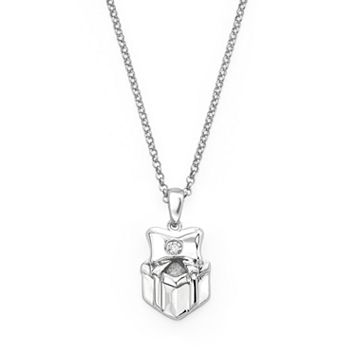 Little Diva Diamonds Sterling Silver Diamond Accent Gift Box Pendant - Kids