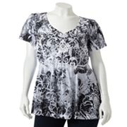 Apt. 9 Printed Crochet Sublimation Top - Women's Plus