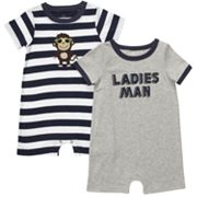 Carter's 2-pk. Striped and Ladies Man Rompers - Baby