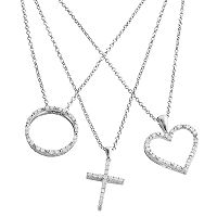 Silver Plated 3/4-ct. T.W. Diamond Heart, Cross & Circle Pendant Set