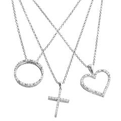 Silver Plated 3/4 ctT.W. Diamond Heart, Cross & Circle Pendant Set