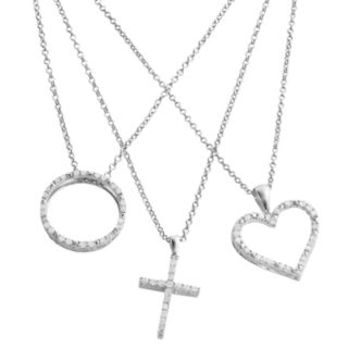 Silver Plated 3/4-ct. T.W. Diamond Heart, Cross and Circle Pendant Set