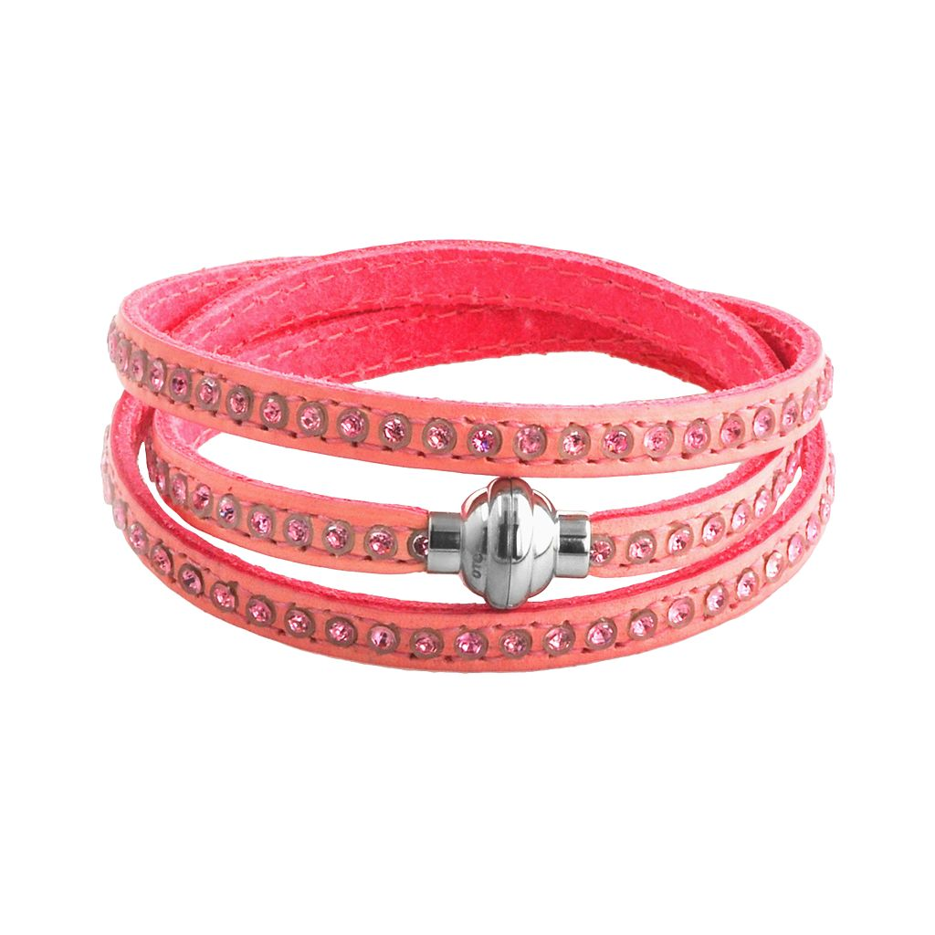 Stainless Steel Simulated Crystal Pink Leather Wrap Bracelet