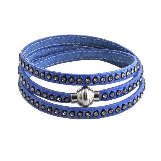 Stainless Steel Simulated Crystal Blue Leather Wrap Bracelet