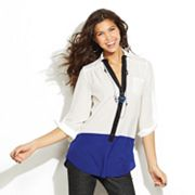 IZ Byer California Sheer Colorblock Top - Juniors