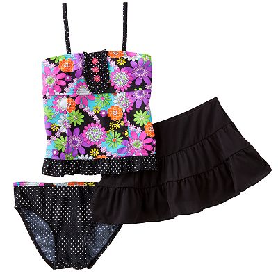 Candie's Floral 3-pc. Tankini Swimsuit Set - Girls 7-16