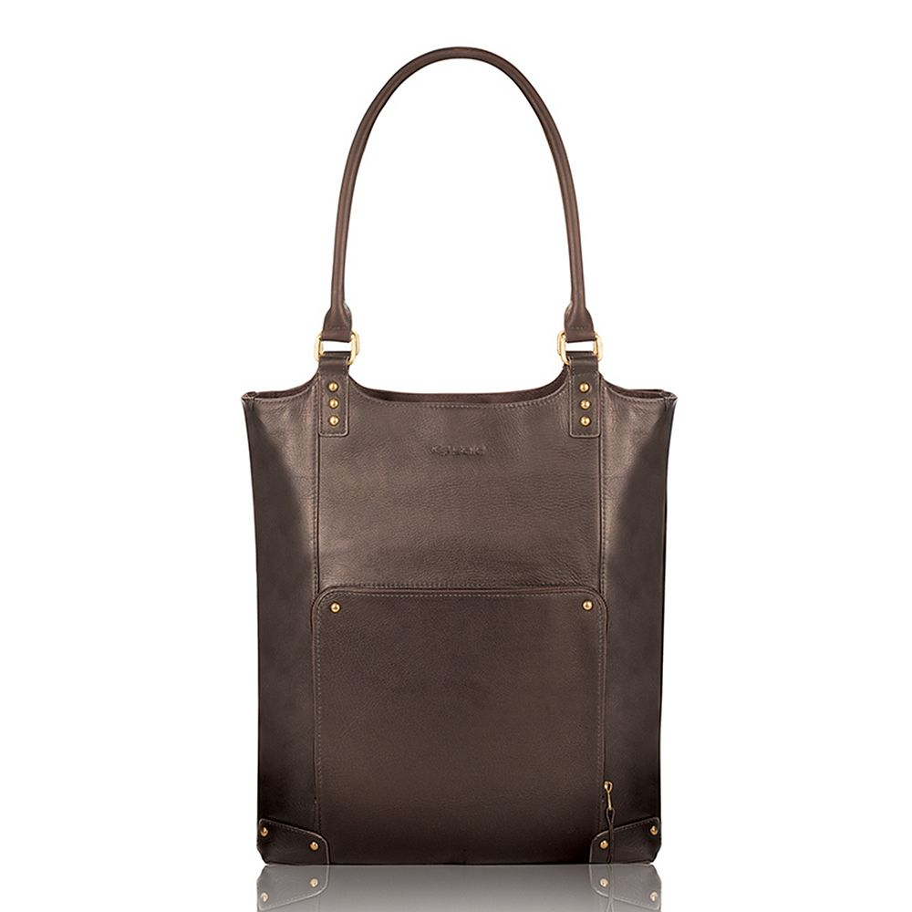 Solo Chambers 16-Inch Premium Leather Laptop Bucket Tote