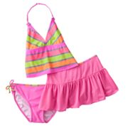 Malibu Dream Girl Striped 3-pc. Halterkini Swimsuit Set - Girls 7-16