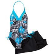 Malibu Dream Girl Floral Halter One-Piece Swimsuit and Cover-Up Set - Girls Plus