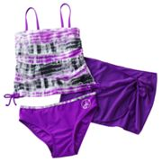 Malibu Dream Girl Tie-Dye Ruched 3-pc. Tankini Swimsuit Set - Girls Plus