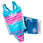 ZeroXposur Tie-Dye One-Piece Swimsuit and Shorts Set - Girls 7-16