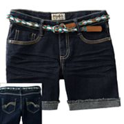 Mudd Belted Denim Midi Shorts - Girls 7-16