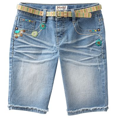 Mudd Floral Belted Denim Bermuda Shorts - Girls 7-16