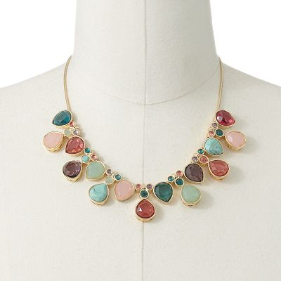 Trifari Gold Tone Teardrop Bib Necklace