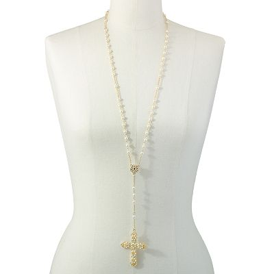 Candie's Gold Tone Simulated Crystal and Simulated Pearl Cross Y Necklace
