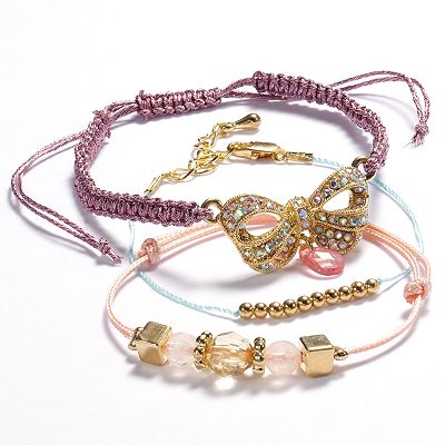 Candie's Gold Tone Simulated Crystal and Bead Bow Slipknot Bracelet Set