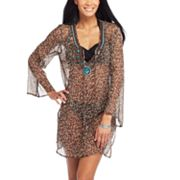 Soaked Leopard Chiffon Cover-Up Tunic