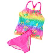 SO Neon Peace Sign 2-pc. Tankini Swimsuit Set - Girls 7-16