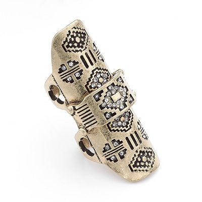Mudd Gold Tone Simulated Crystal Textured Full Finger Ring