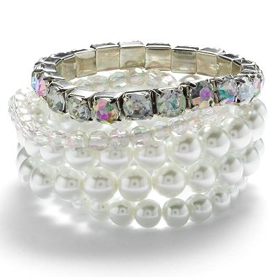 Candie's Silver Tone Simulated Crystal, Simulated Pearl and Bead Stretch Bracelet Set