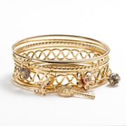 Candie's Gold Tone Simulated Crystal and Simulated Pearl Bangle Bracelet Set