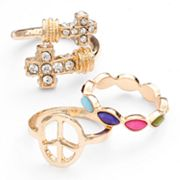 Mudd Gold Tone Simulated Crystal Textured Cross and Peace Sign Ring Set