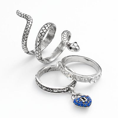 Mudd Silver Tone Simulated Crystal Textured Snake and Heart Charm Ring Set