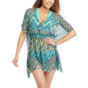 Soaked Zigzag Smocked Cover-Up Tunic