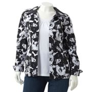 Sag Harbor Floral Textured Jacket - Women's Plus