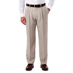 Men's Haggar eCLo Stria Classic-Fit Pleated Dress Pants