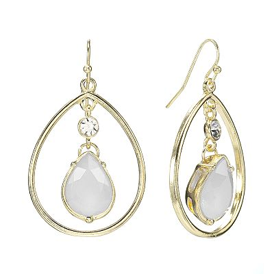 Apt. 9 Gold Tone Simulated Crystal Teardrop Earrings